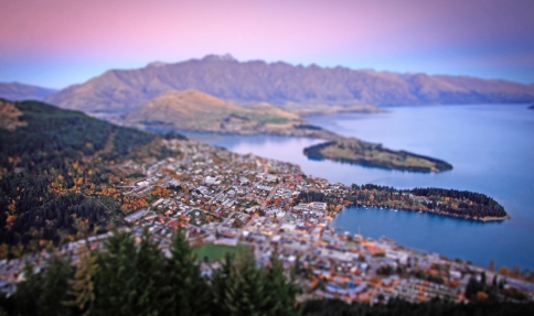 Sunset Photography over Queenstown with a 'Tilt and Shift' Lens.