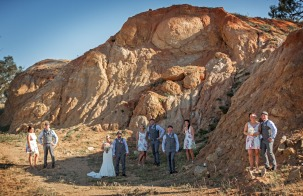 Wedding party in a Quarry
