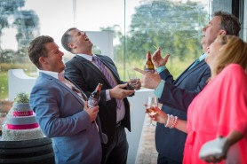 laughing at pizzini winery wedding