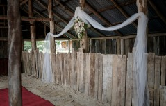 Wedding ceremony at Milawa Mustards Barn