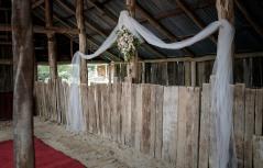 Wedding ceremony at Milawa Mustards Barn